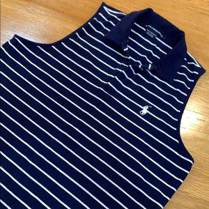 Ralph Lauren Sport Navy Stripe Polo Shirt Top Sz L